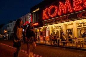 Colourful Night time view of Komedia and Gourmet Burger Company Gardner Street Brighton UK. Colour Landscape. © P.Maton 2014 eyeteeth.net