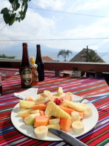 Fruit platter and beers