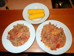 Beef with vegetables in pepian sauce