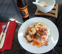 Lime and chili prawns with rice and veg