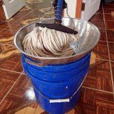 Improvised mop strainer!