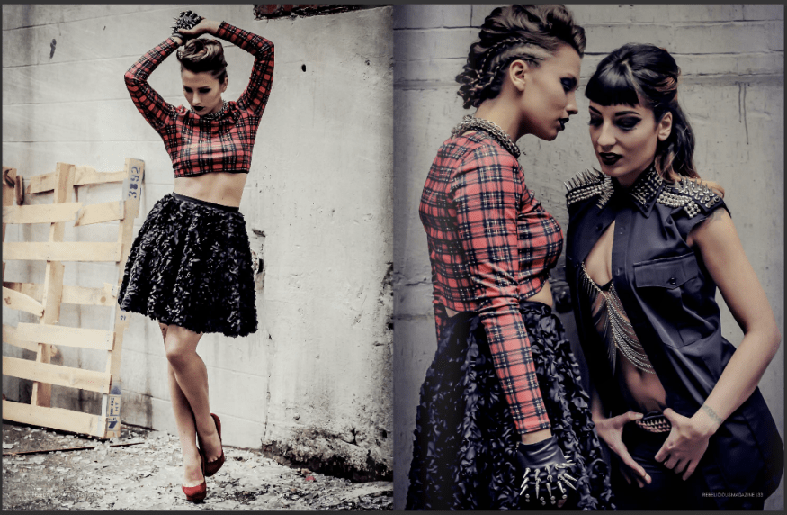 Punk Rock photo shoot published in Rebelicious Magazine Issue 36 pages 31-37 Models: Sierra Gesuqwaluck Piroska and Ellie Zogia Hair: The Salon Makeup: Madison Mah Stylist: Erin Harder Photography: Eyoälha Baker Art Photography Most clothing supplied by Mine & Yours Jewellery: Shereen de Rousseau and Spirit Shards See full credits in magazine http://issuu.com/rebeliciousmagazi…/docs/rebelicious_issue36