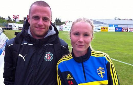 Sara Sandberg tillsammans med coach Collgård under Nordisk Flick 2013 på Island.