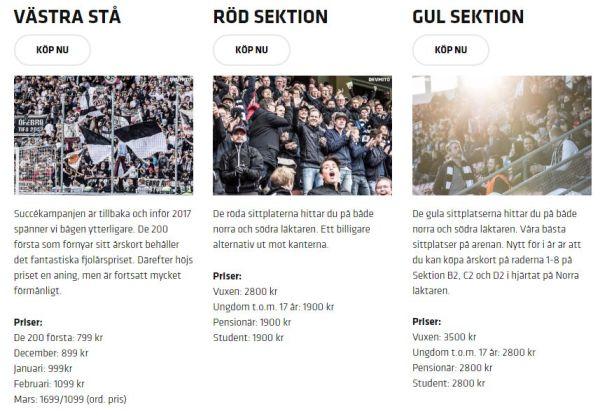 Säsongskortspriser för sitt- och ståplatser säsongen 2017.