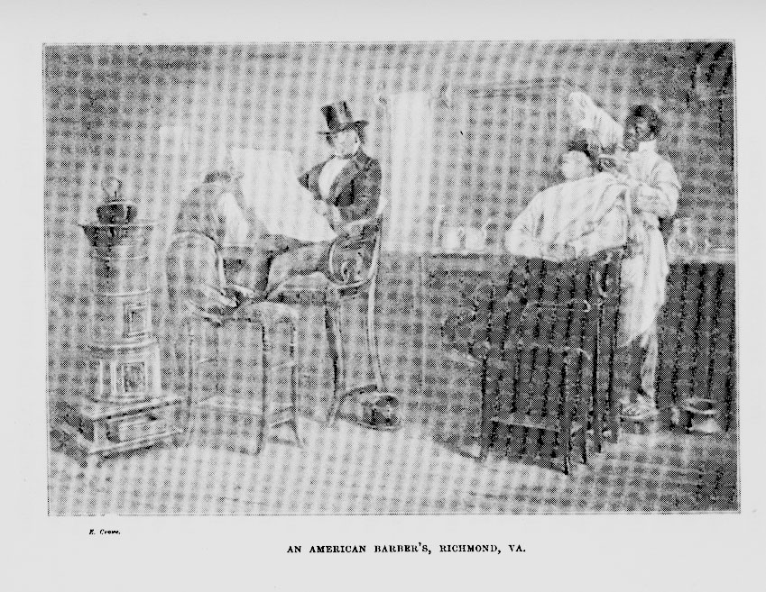 Engraving of 'A Barber's Shop at Richmond, Virginia' by Eyre Crowe (1861)