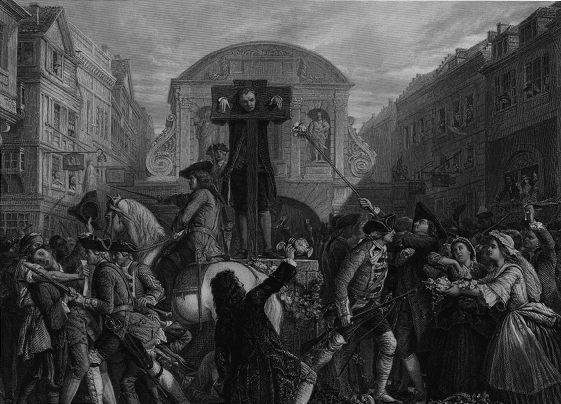 'Defoe in the Pillory' by Eyre Crowe (1862). Engraving by J.C. Armytage, published in the 'Art Journal', New Series 7 (1868), p. 27.