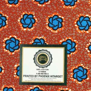 tissu wax africain hitarget motif Volta bleu et orange © Eyrelles Tissus