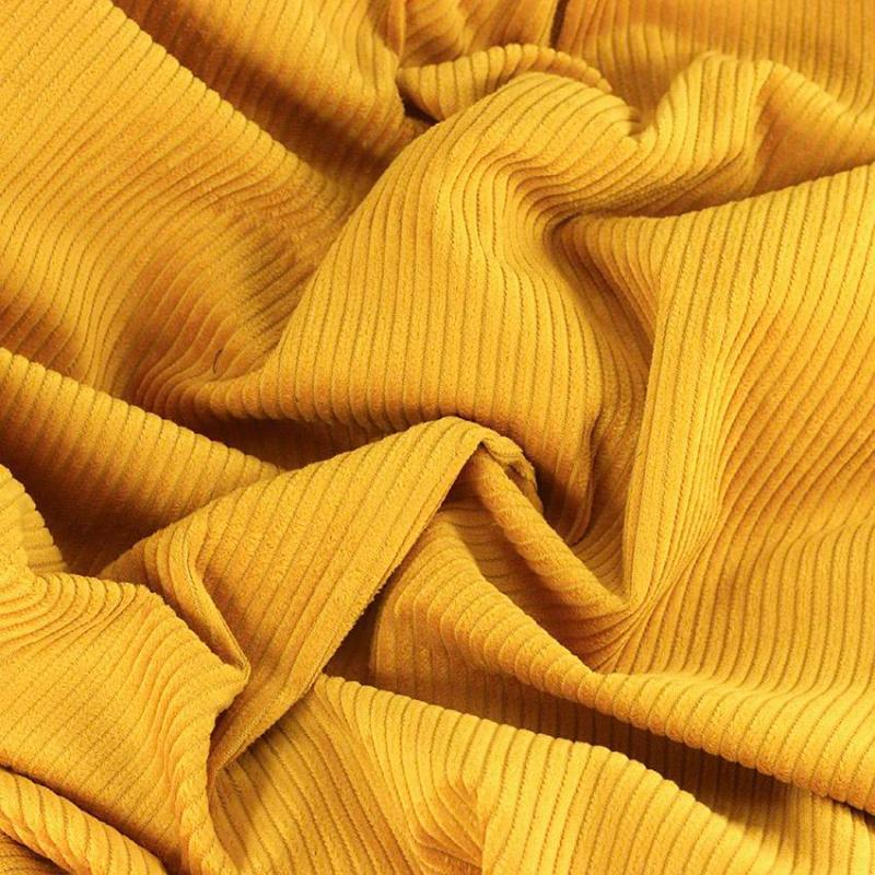 """Tissu velours côtelé """"Victor - Jaune Moutarde"""" © Eyrelles Tissus"""