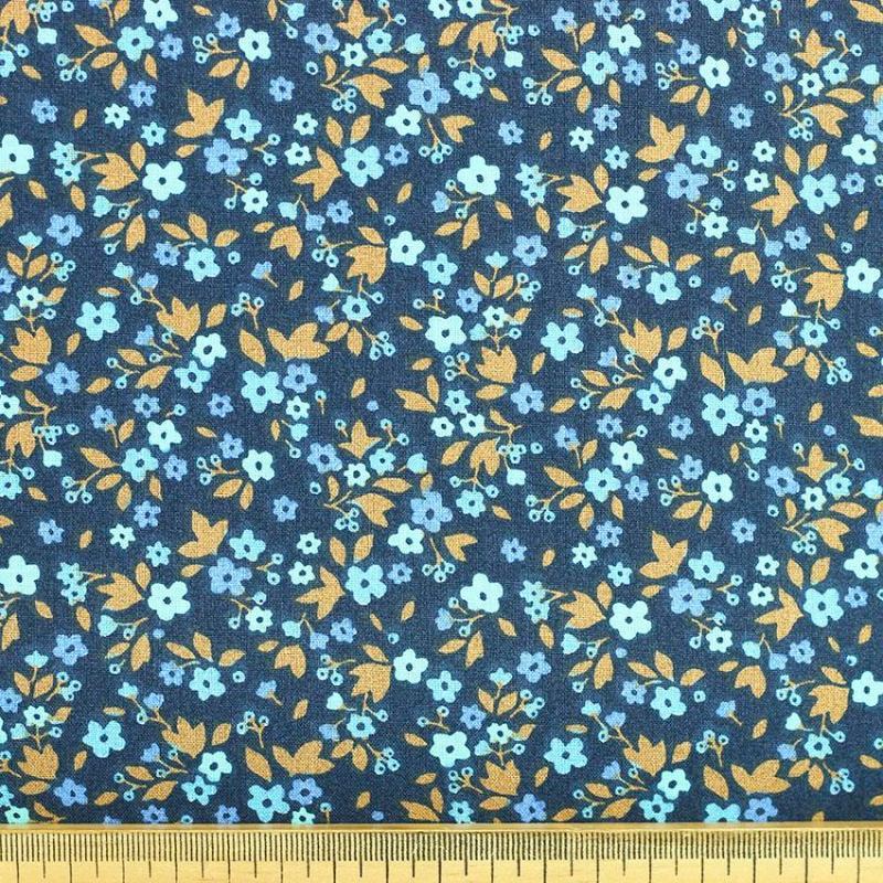 """Tissu coton imprimé """"Boscodon - Bleu"""" © Eyrelles Tissus"""