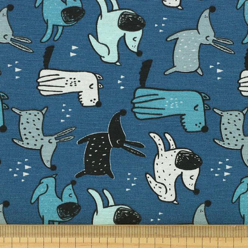 """Toile imprimée motif """"Chien - Bleu"""" © Eyrelles Tissus"""