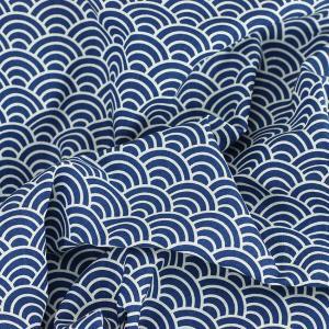 Tissu toile imprimée tissus japon bleu marine © Eyrelles Tissus
