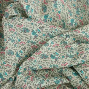 Tissu coton imprimé popeline Chouette bleu © Eyrelles Tissus