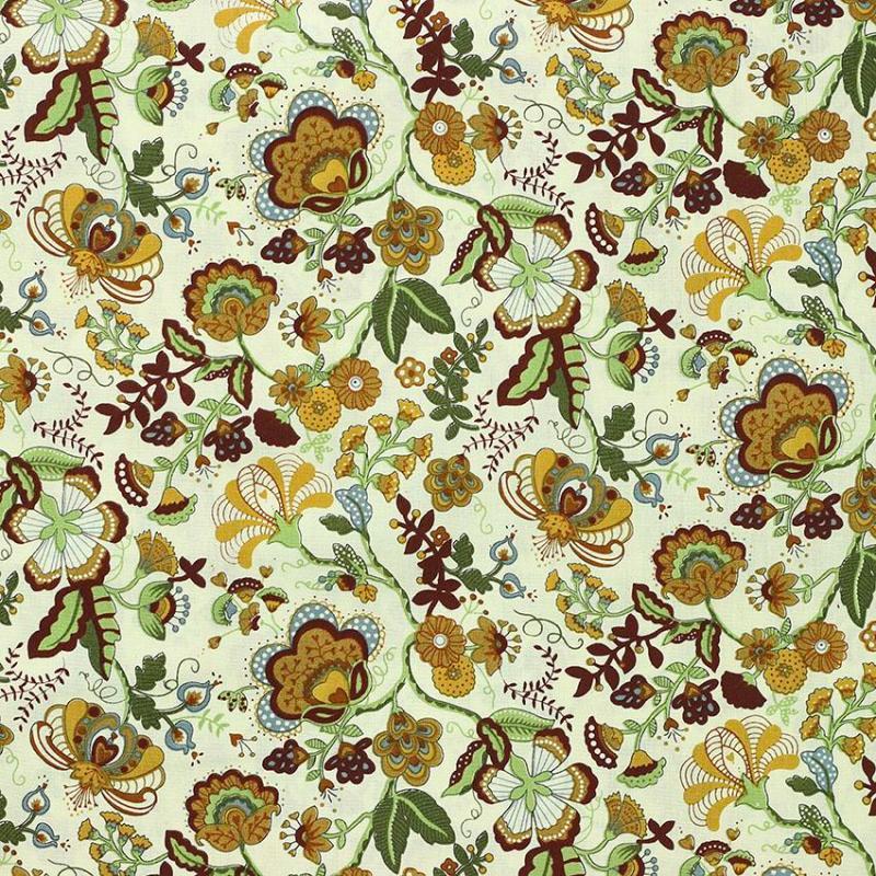 Tissu coton imprimé popeline Deoria Marron © Eyrelles Tissus