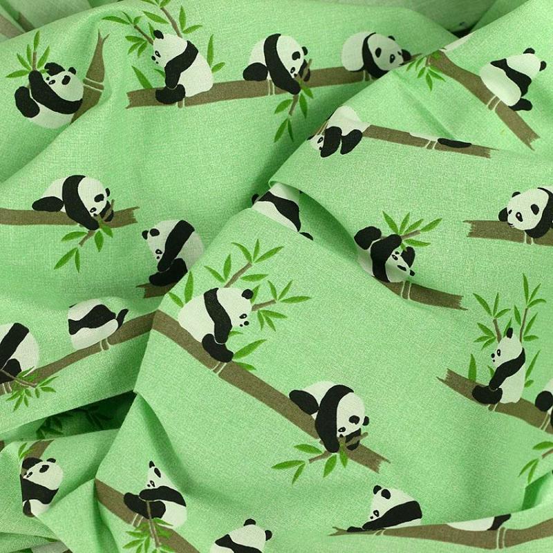 Tissu coton imprimé popeline Panda Vert © Eyrelles Tissus