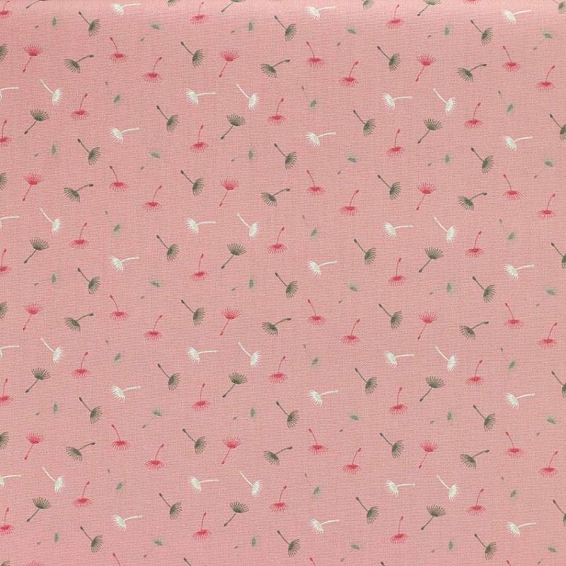 """Tissu coton imprimé """"Pissenlit - Rose"""" © Eyrelles Tissus"""