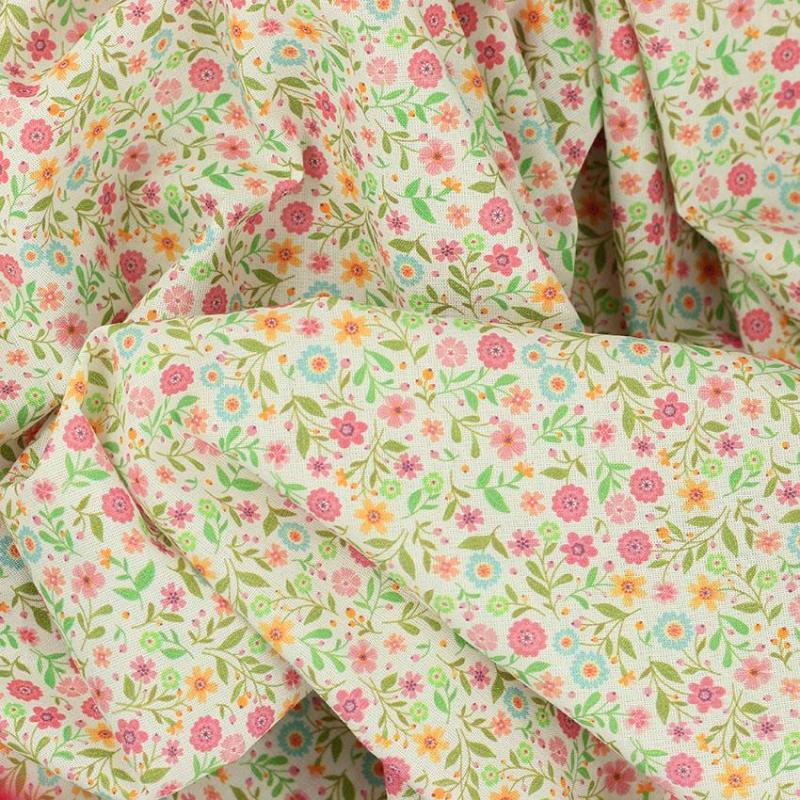 Tissu coton imprimé digital popeline Lily Bleu © Eyrelles Tissus