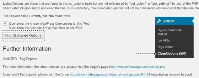 Wordpress Veritabanı Temizleme - Find Oprhaned Options