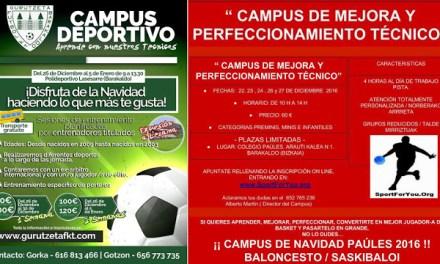 El PAÚLES de baloncesto y el Gurutzeta de fútbol organizan campamentos infantiles de Navidad