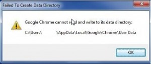 Google Chrome cannot read and write to its data directory