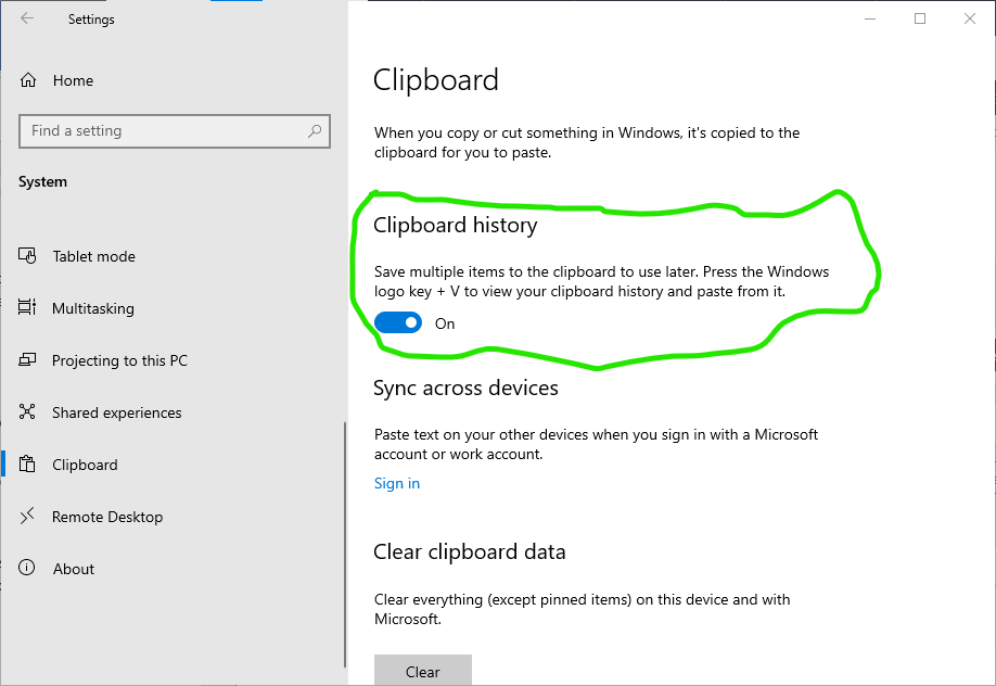 Activating Windows 10 Clipboard History feature Step 3