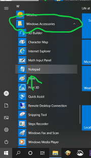 opening Notepad from start menu app list in windows 10