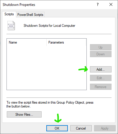 setting up a shutdown script with Group Policy Editor in Windows 10 step 2