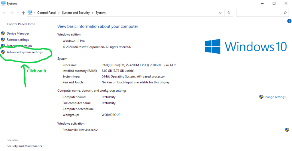 Deactivating and Activating Windows 10 virtual memory (pagefile.sys) feature step 1