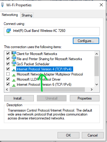 Open Internet Protocol Version 4 in Windows 10