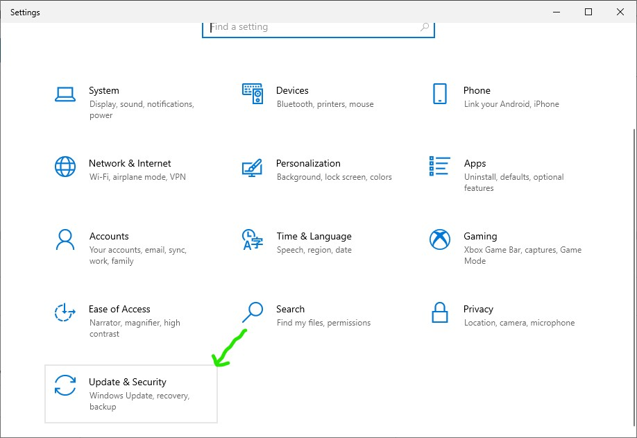 Screenshot of Arrow pointing to Update & Security option in Windows Settings app of Windows 10