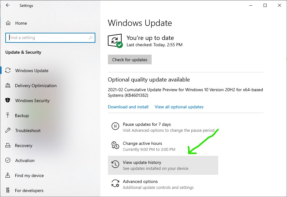 Opening The View Update History option of Windows 10 option 1