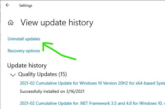 Screenshot of Uninstalling Windows 10 updates step 2