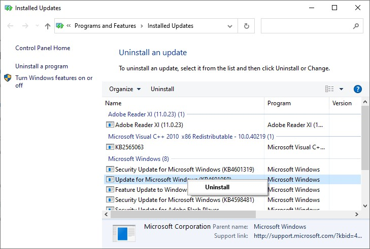 Screenshot of Uninstalling Windows 10 updates step 3