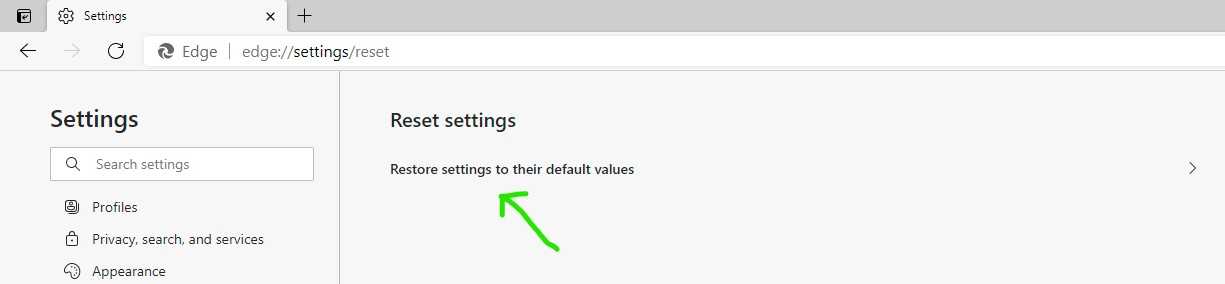 Arrow pointing to the Reset settings to their default value option in Microsoft Edge Browser Settings.