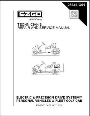 EZGO  EZ Go Service Manual Elec 0110 Part # 28646G01  Genuine EZ GO Golf Cart Parts