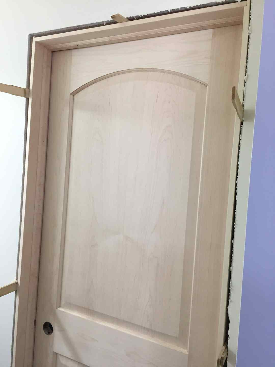 install a pre-hung door, shims in place
