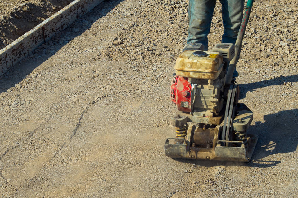 compacting patio foundation
