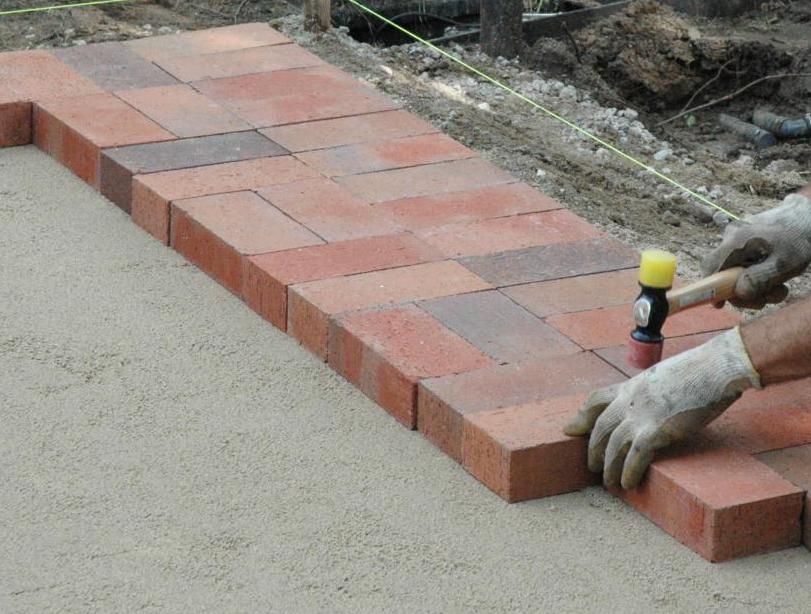 setting brick patio