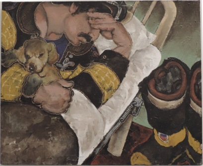 Martin Wong - Fireman sleeping with Puppy
