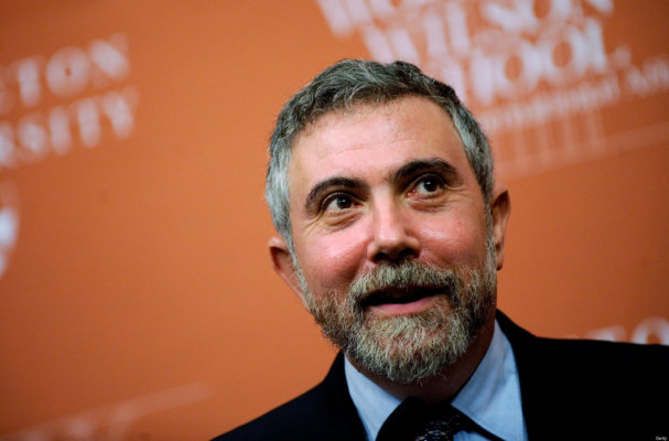 PRINCETON, NJ - OCTOBER 13:  Princeton Professor and New York Times columnist Paul Krugman smiles during a press conference to announce his winning the Nobel Prize October 13, 2008  in Princeton, New Jersey.  Krugman was given the prestigious award, which includes a prize of $1.4 million for his work on economic trade theory.  (Photo by Jeff Zelevansky/Getty Images)