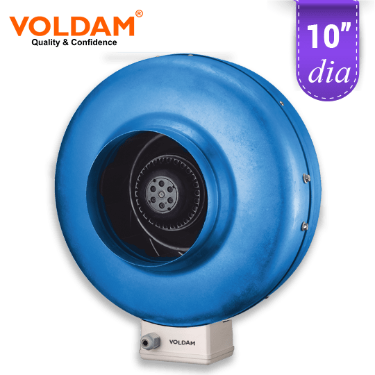 voldam id10 metal centrifugal in line duct fan exhaust blower 10