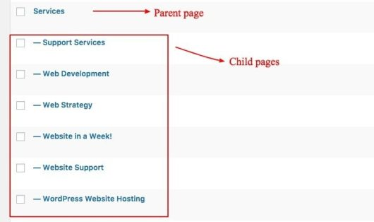 child pages under parent page