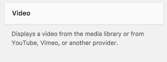 The Video widget in WordPress 4.9
