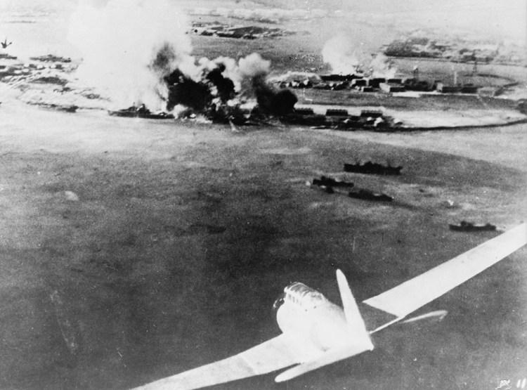 Нападение на Перл Харбор. Съемка с самолета