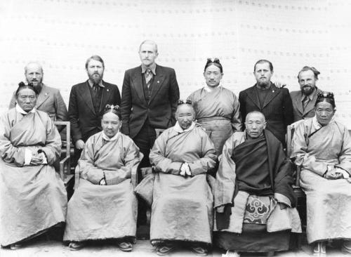 Tibetexpedition, Gruppenbild mit Ministern