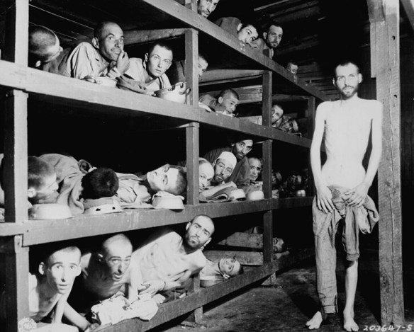 Liberated prisoners in Buchenwald concentration camp