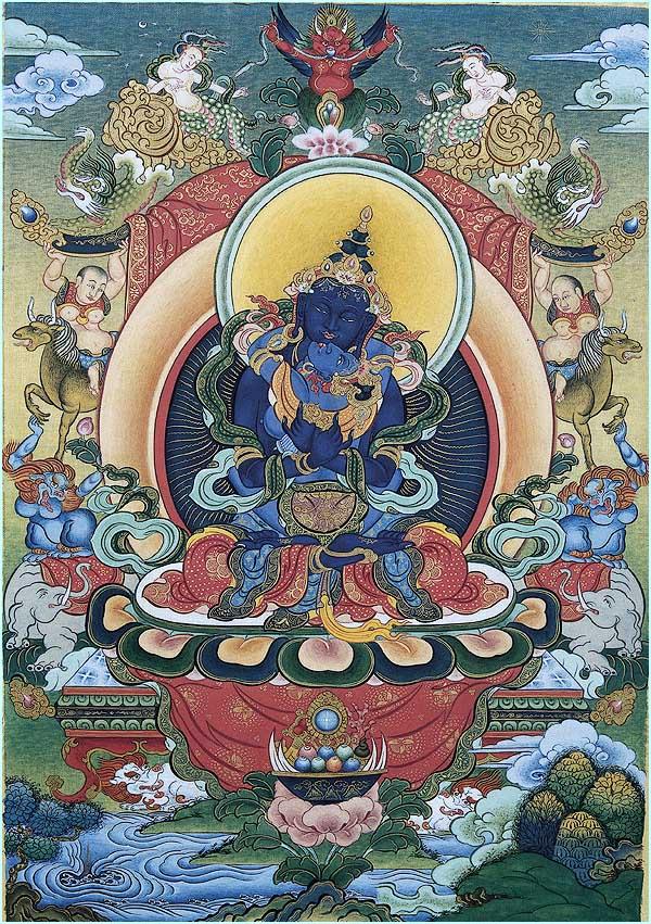 Ваджрадха́ра — в Ваджраяне изначальный Будда, олицетворение Дхармакаи. В тибетском буддизме отождествляется с Ади-буддой. Ваджрадхара иконографически изображается в тёмно-синем цвете, он сидит в позе медитации.