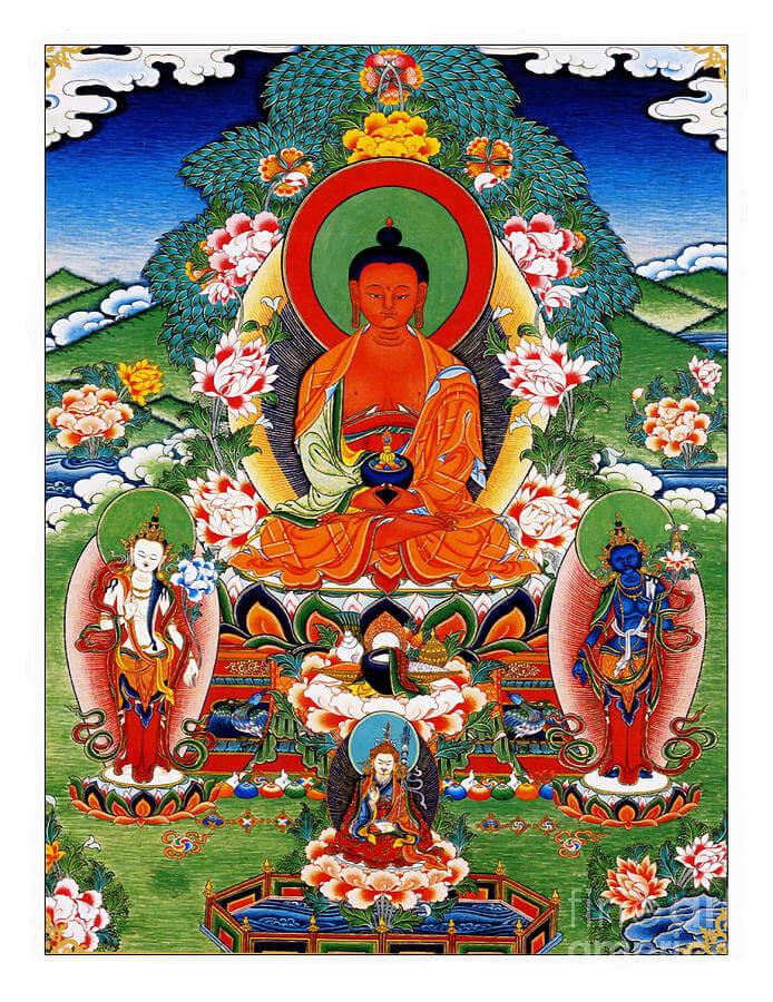 Амита́бха или Амита́ Будда — самая почитаемая фигура в буддийской школе Чистой земли. Считается, что он обладает множеством достойных качеств: поясняет универсальный закон бытия в Западном раю и принимает под своё покровительство