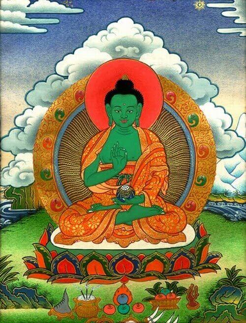 Амогхасиддхи — один из пяти Будд Мудрости в буддизме Ваджраяны, происходящих от первоначального Ади-будды, эти пять будд соответствуют пяти осознаваемым аспектам реальности и пяти скандхам. Кожа зелёного цвета.