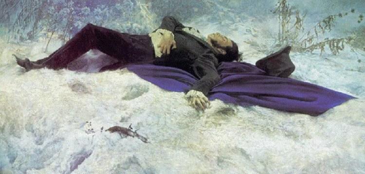 пушкин в снегу