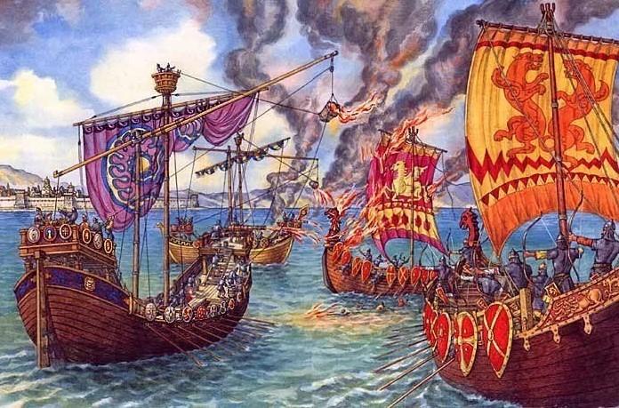греческий огонь на кораблях